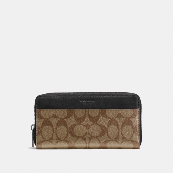 Coach Accordion Zip Wallet In Signature Canvas - Tan/Black