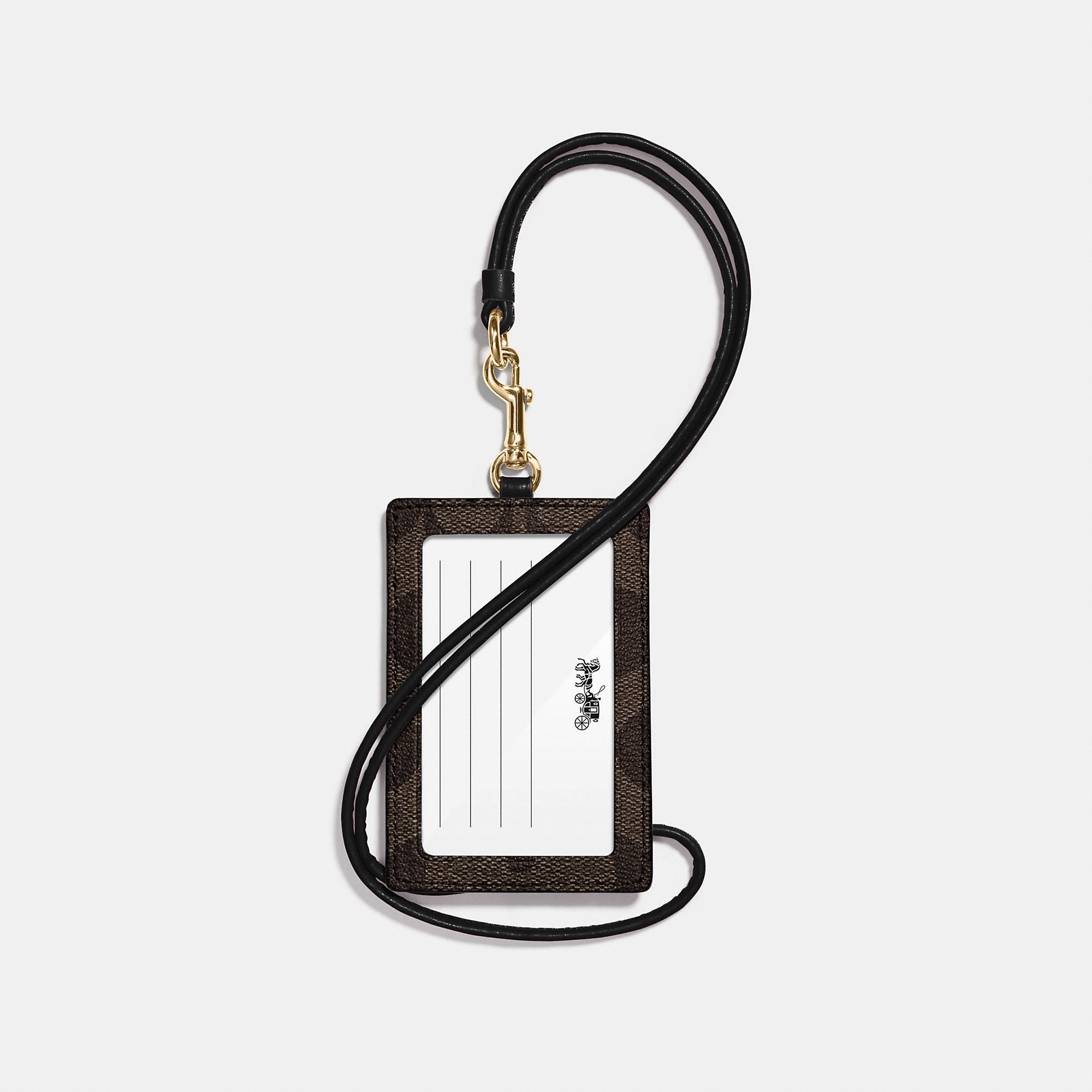 Coach ID Lanyard In Signature Canvas 'Brown/Black'