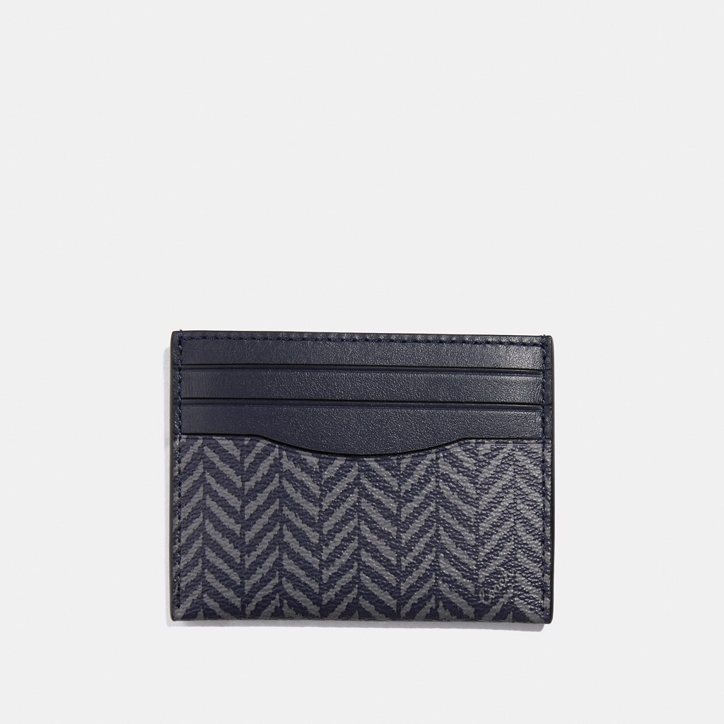 Coach Slim ID Card Case With Herringbone Print