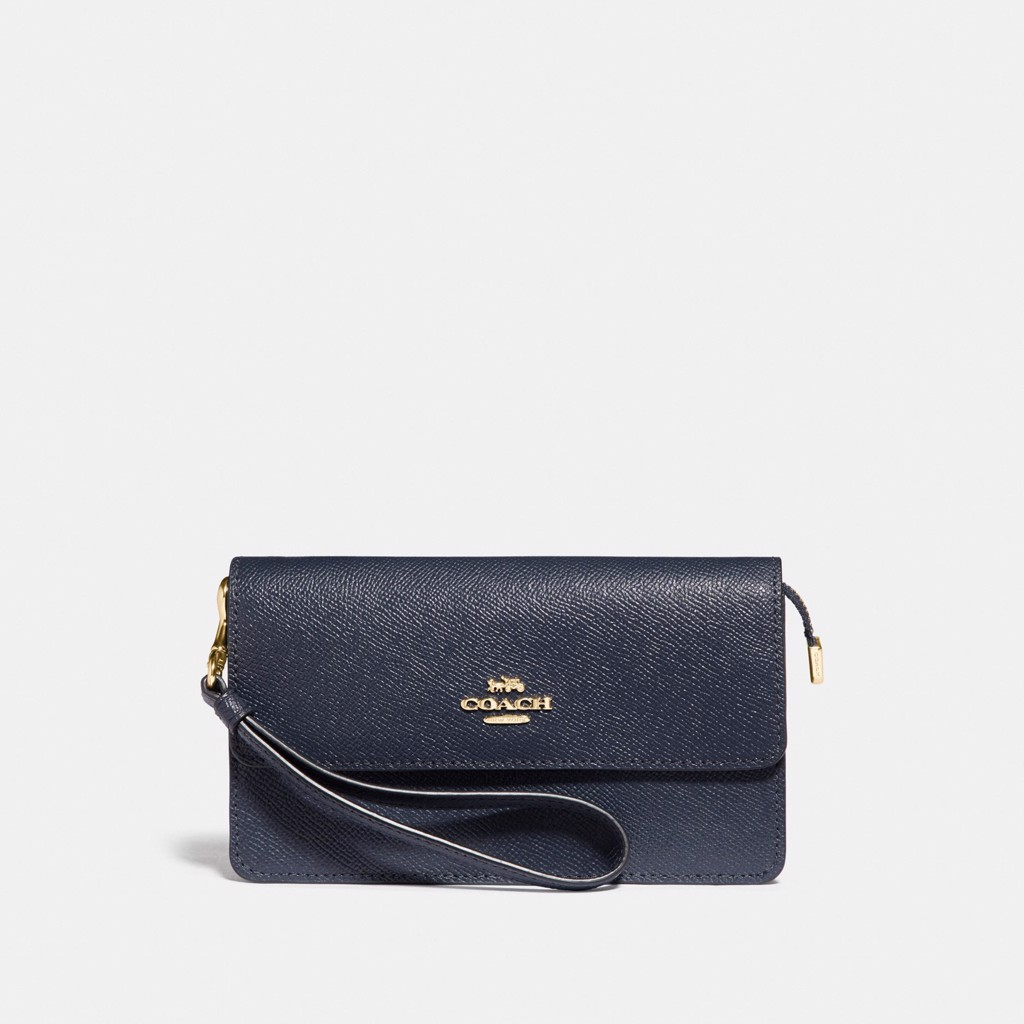 Coach Foldover Wristlet 'Midnight/Gold'