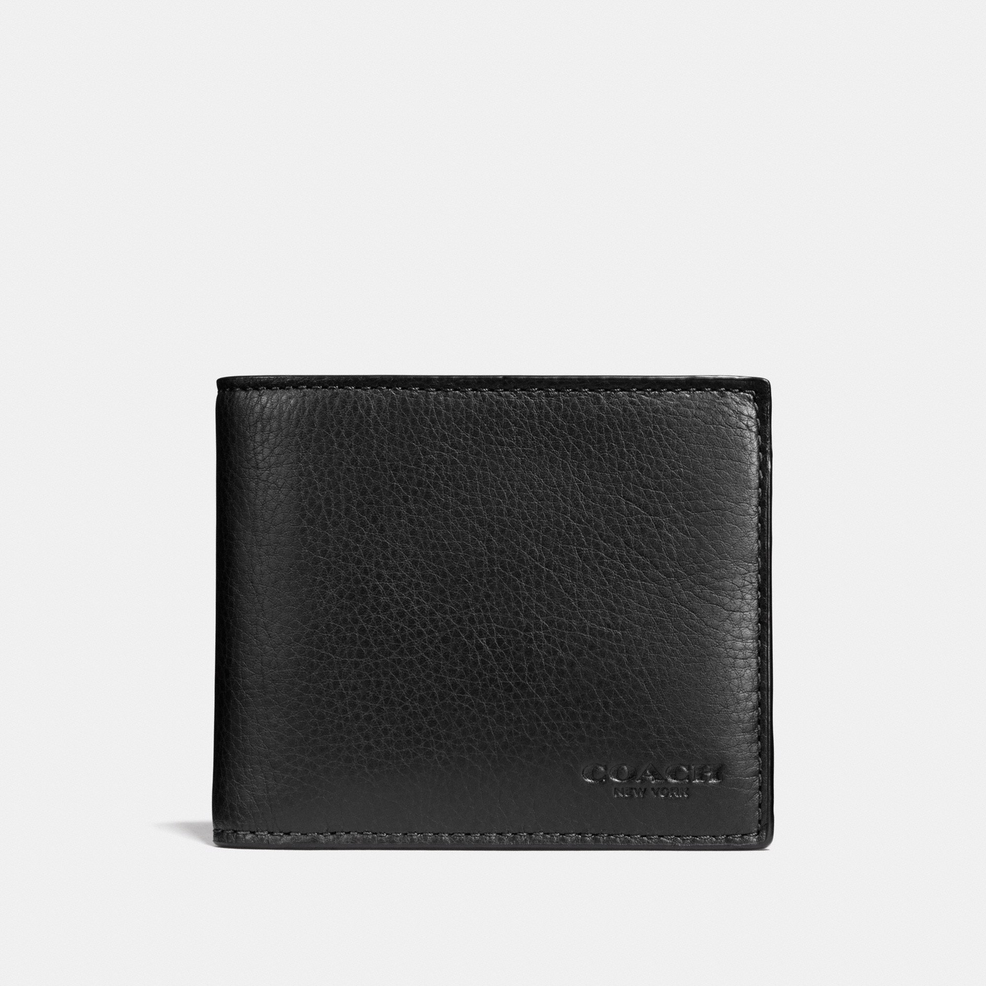 Coach Compact ID Wallet In Sport Calf Leather 'Black'