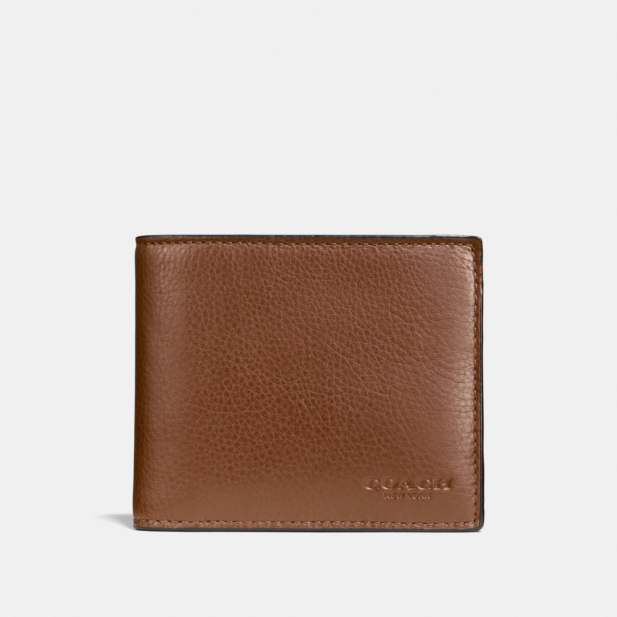 Coach Compact ID Wallet In Sport Calf Leather 'Saddle'