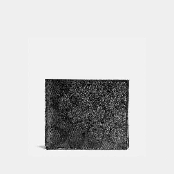 Coach Compact ID Wallet In Signature Canvas - Charcoal/Black