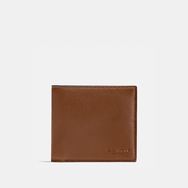 Coach Double Billfold Wallet In Calf Leather - Dark Saddle