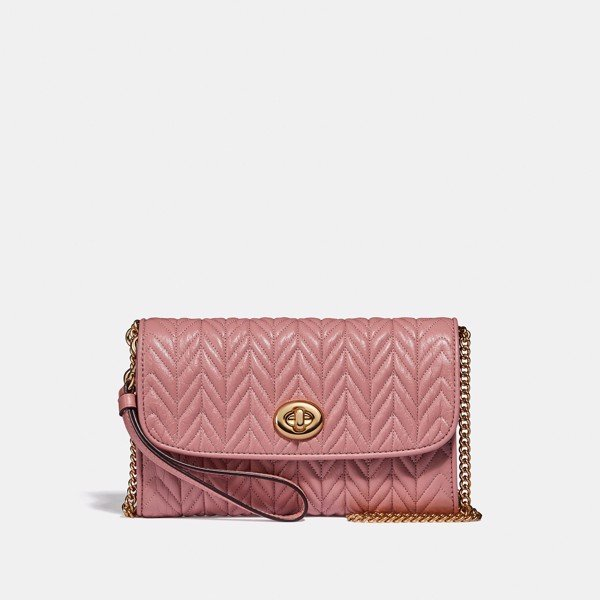 Coach Chain Crossbody With Quilting 'Pink Petal'