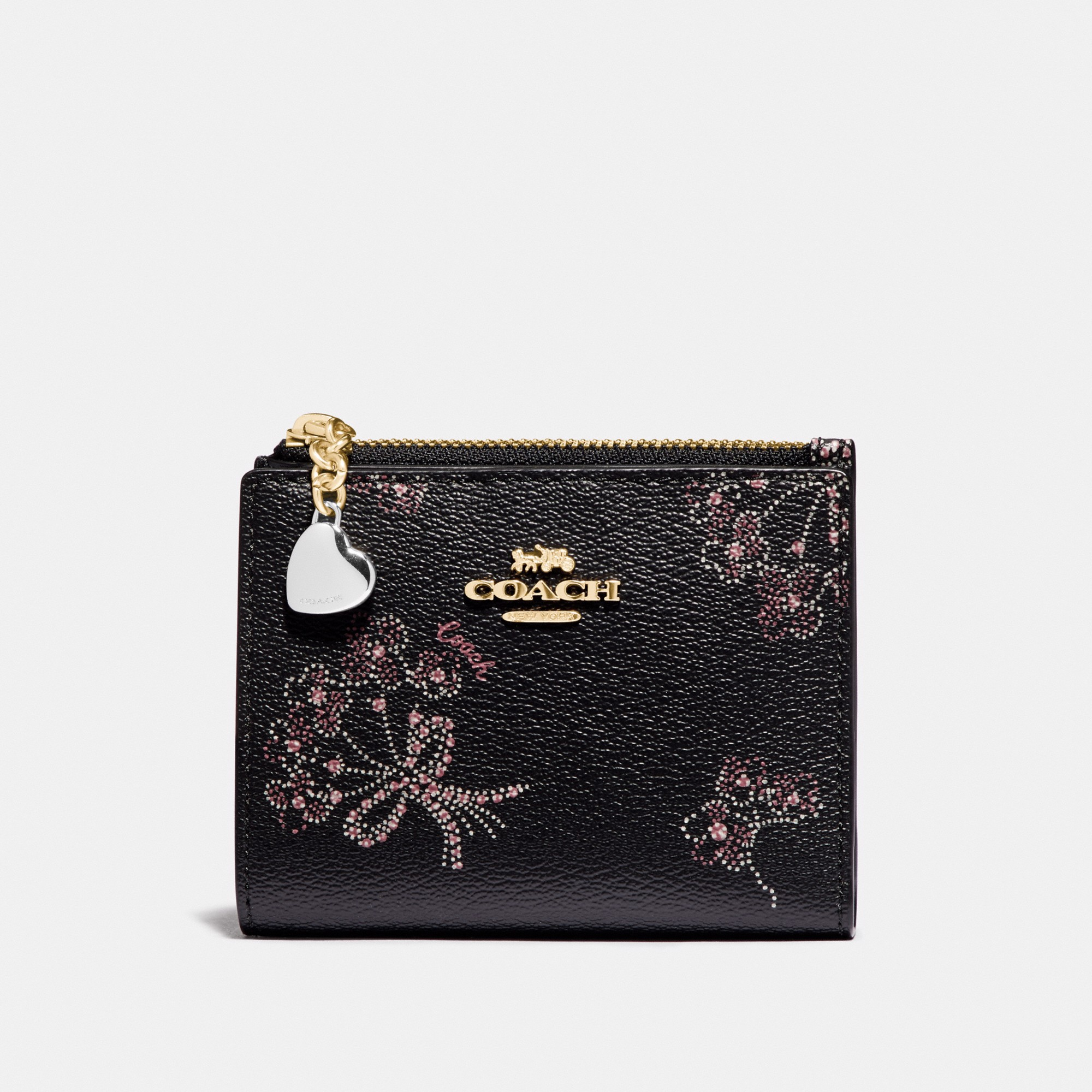 Coach Snap Card Case With Ribbon Bouquet Print