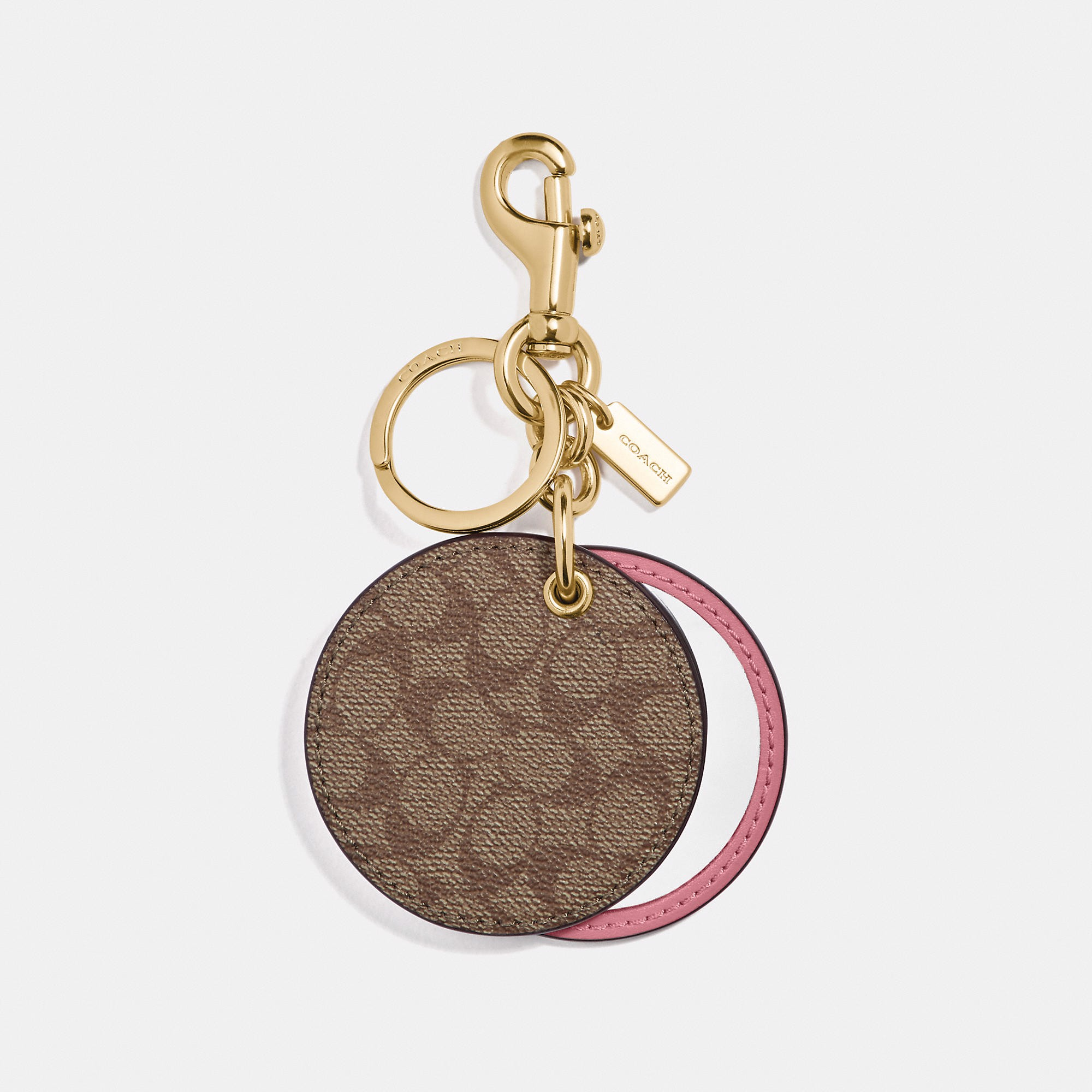 Coach Mirror Bag Charm In Signature Canvas 'Khaki/Pink'