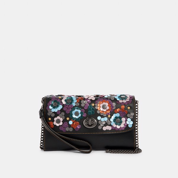 Coach Chain Crossbody With Leather Sequins