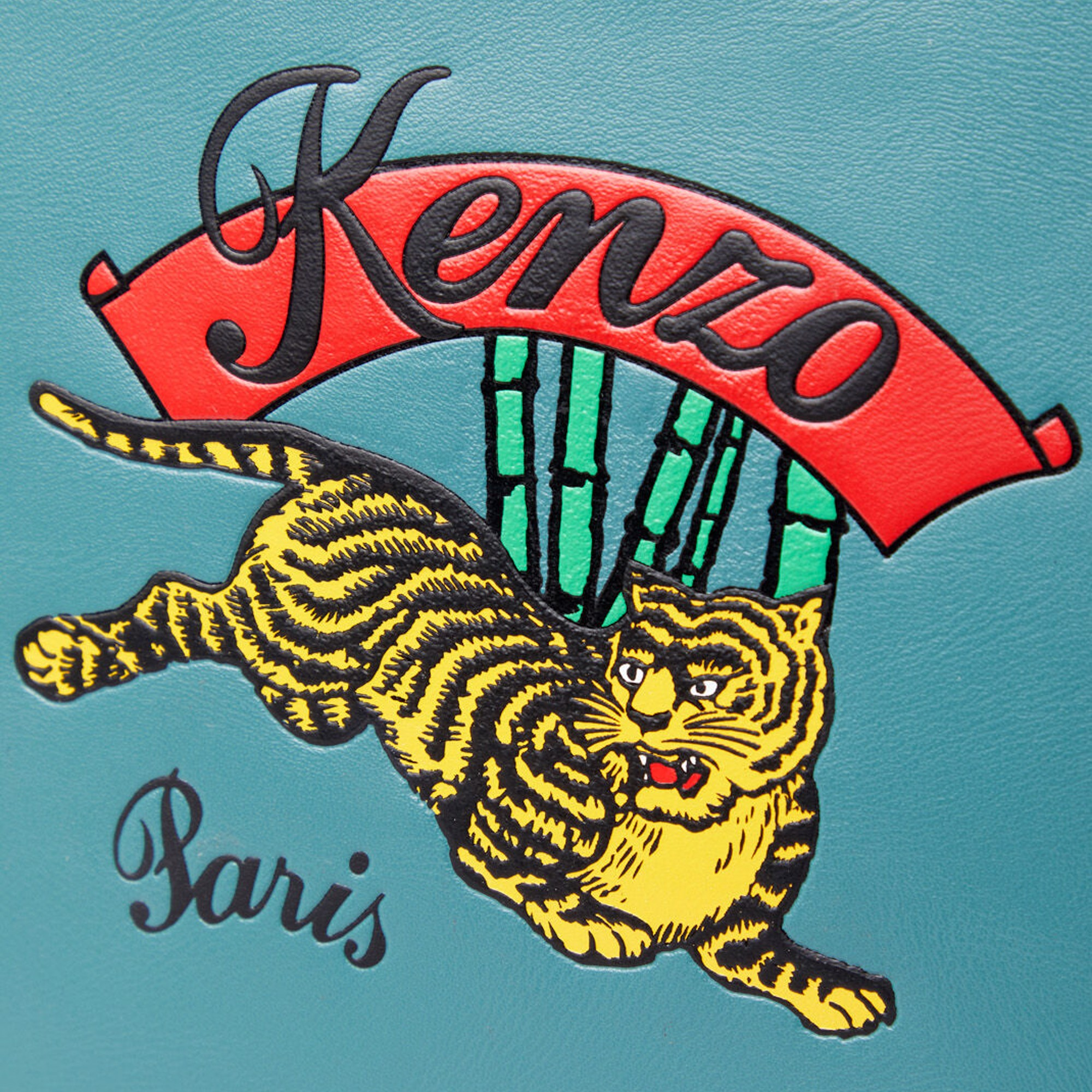 KENZO A4 Leather Pouch Jumping Tiger - Duck Blue
