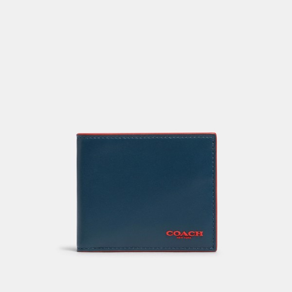 Coach ID Biilfold Wallet In Colorblock - Aegean/Sport Red