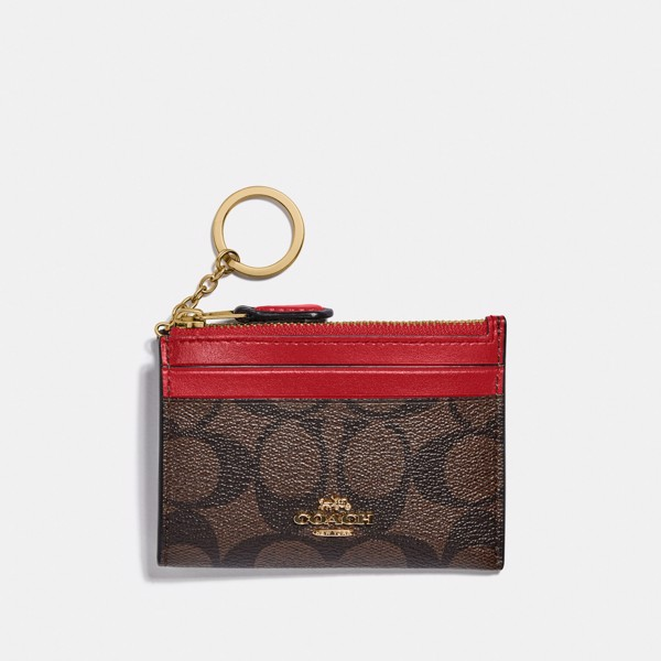 Coach Mini Skinny ID Case In Signature Canvas - Brown/True Red
