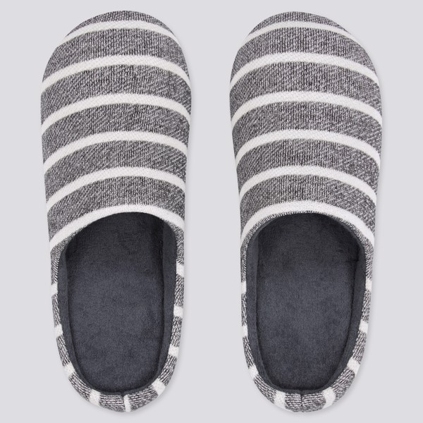 Uniqlo Striped Room Shoes - Dark Grey