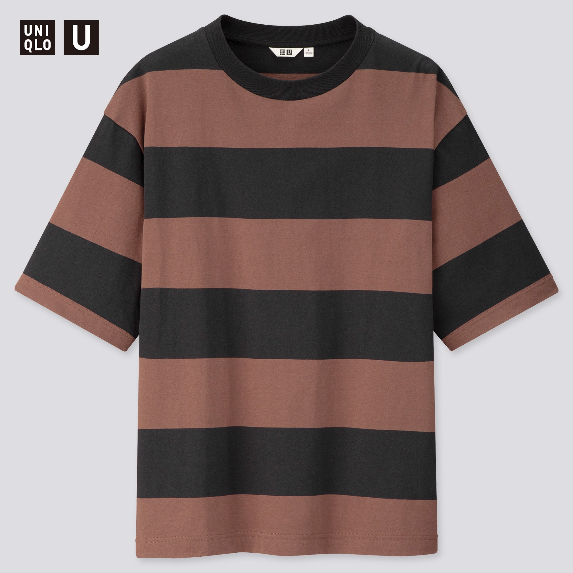 Uniqlo U Oversized Striped Crew Neck 'Black'