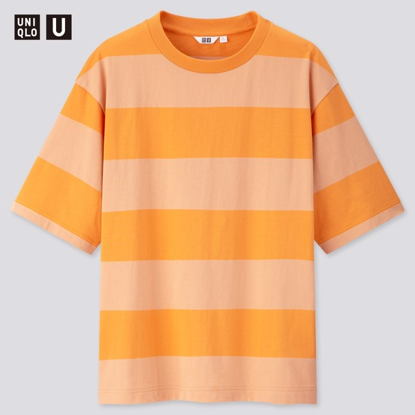 Uniqlo U Oversized Striped Crew Neck 'Orange'
