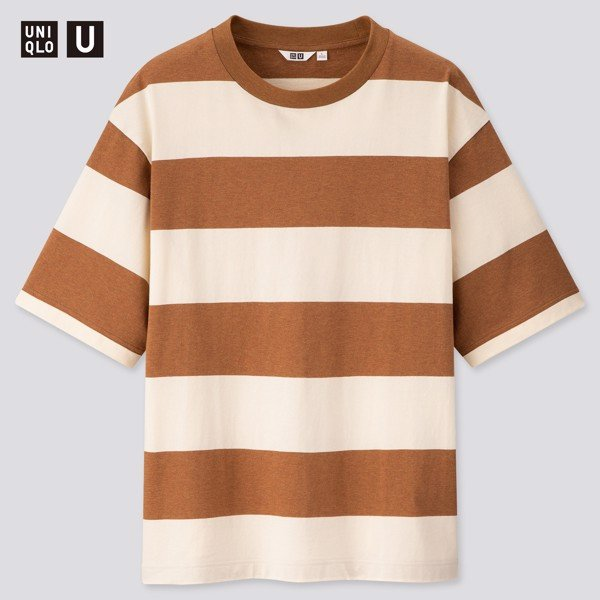 Uniqlo U Oversized Striped Crew Neck 'Brown'
