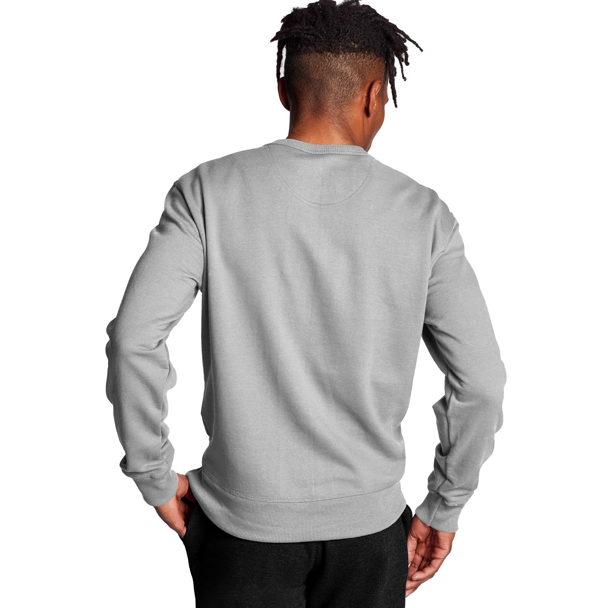 Champion Powerblend Crew Script Logo - Oxford Grey
