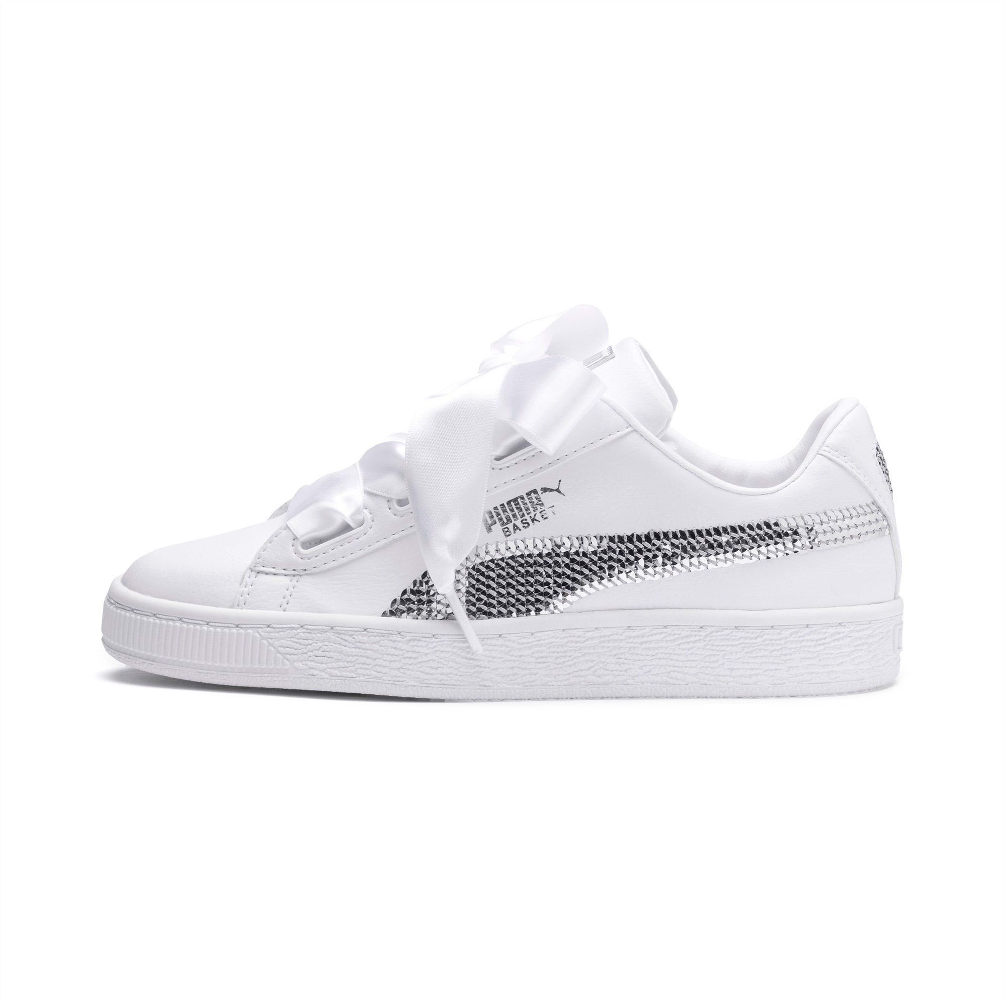 Puma Basket Heart Sequin - White