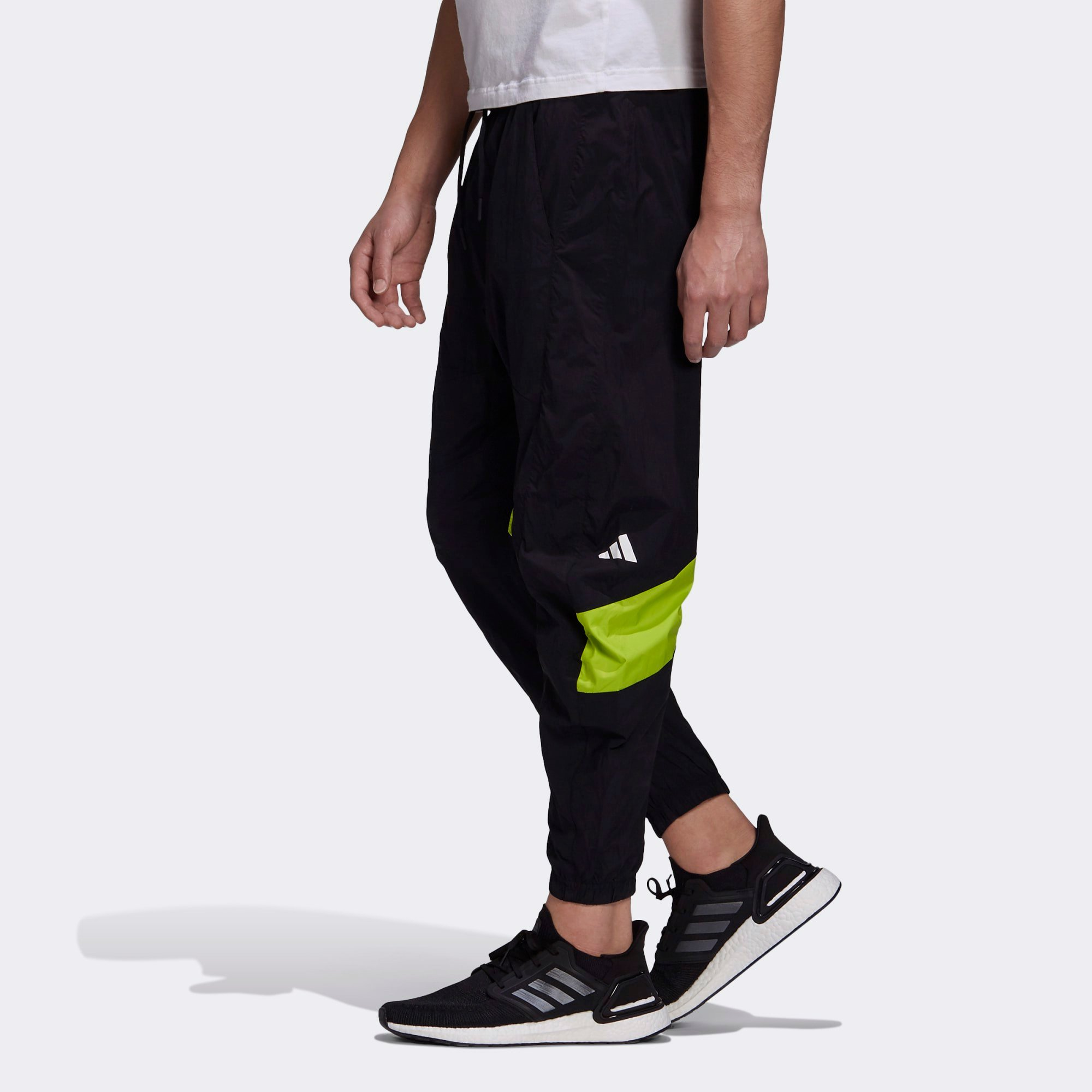 adidas Woven Tape Pants - Black/Solar Lime