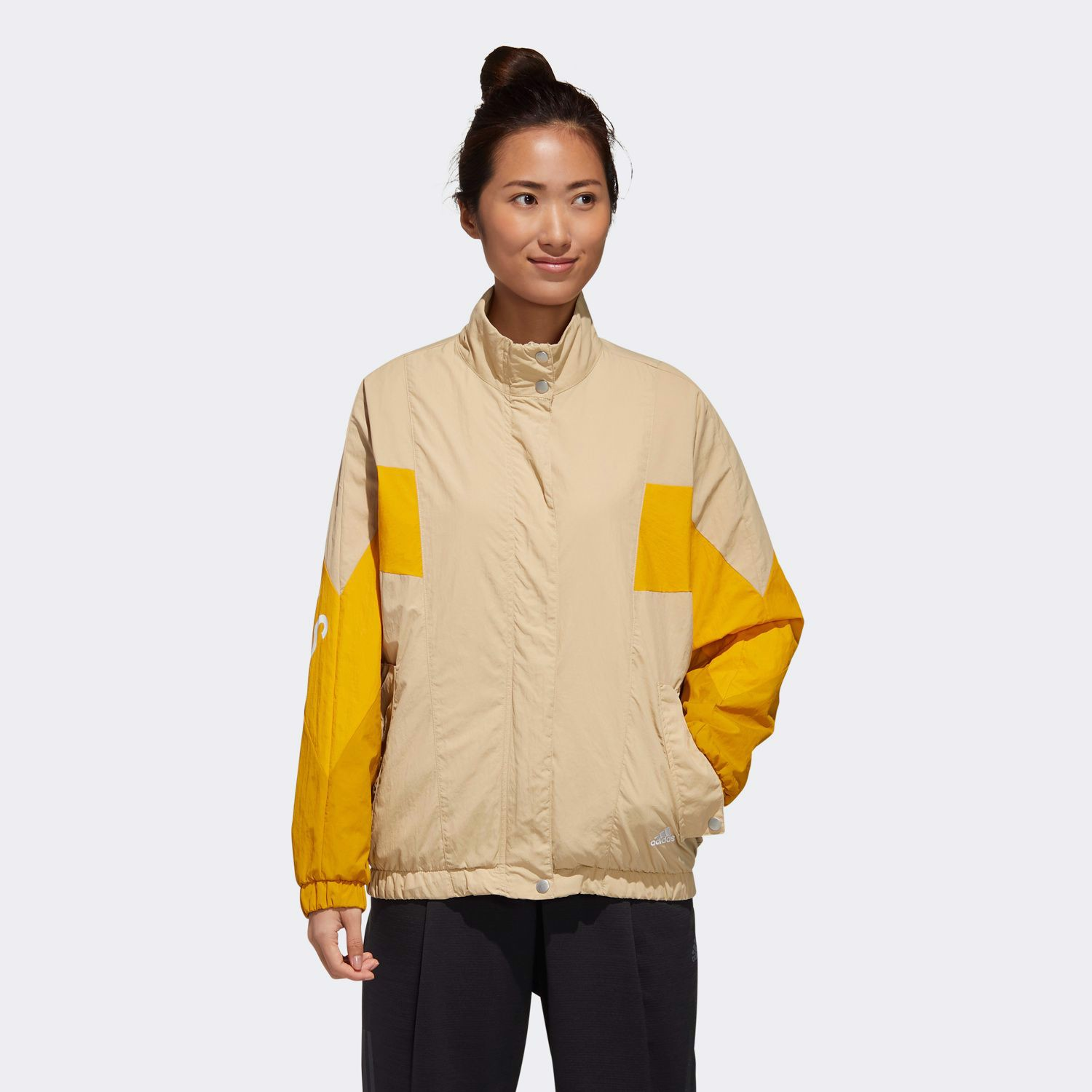 adidas Must Haves Three Stripes Wording Woven Jacket - Beige/Yellow