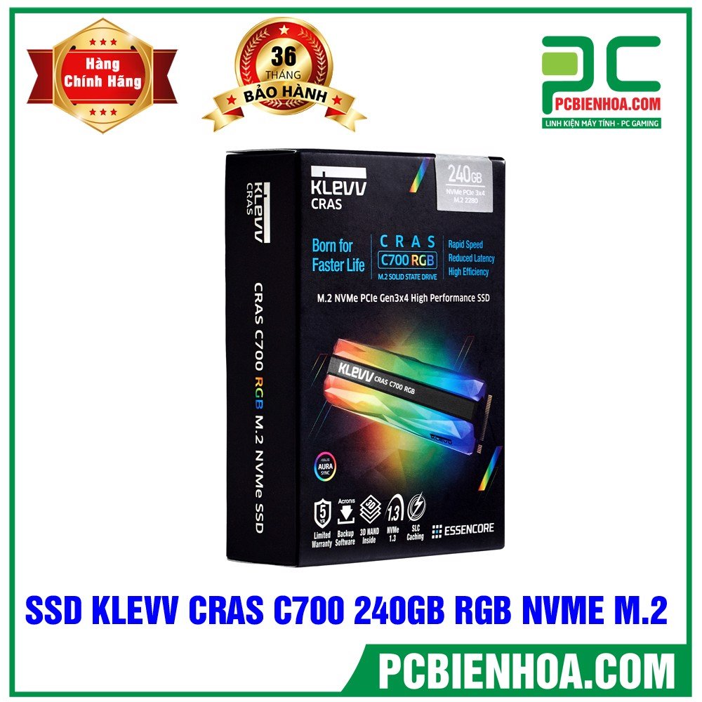 SSD Klevv CRAS C700 RGB 240GB M2 NVME Gen3x4 – K240GM2SP0-C7R (Read/Write: 1,500/1,000 MB/s, 3D 72-Layer NAND)