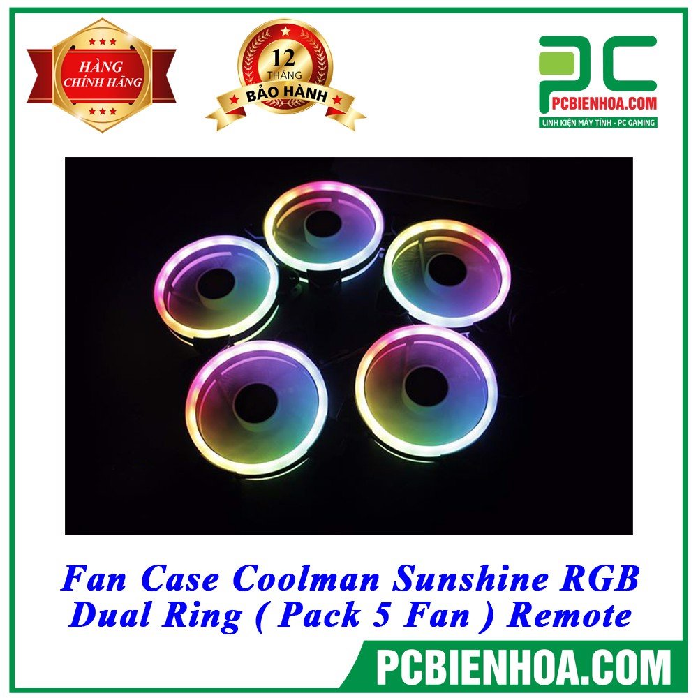 Fan Case Coolman Sunshine RGB - Dual Ring ( Pack 5 Fan ) Remote