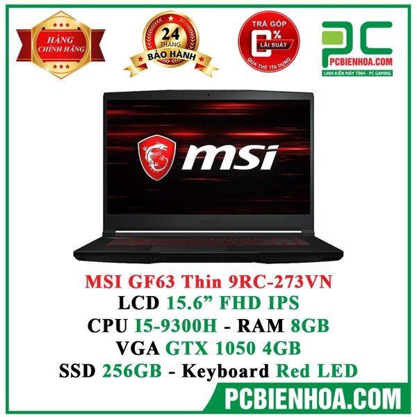 Laptop Gaming MSI GF63 Thin 9RC-273VN