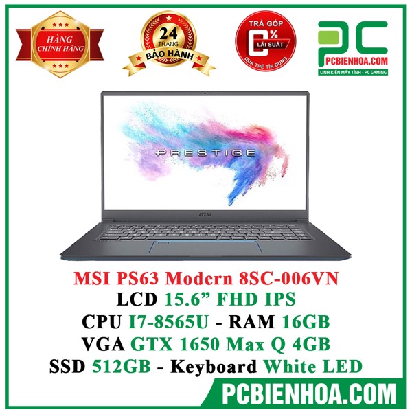 Laptop MSI PS63 8SC-006VN