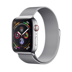 [Full Box] Apple Watch 4 44mm (4G) Thép trắng – Dây Milanese Loop (Esim)