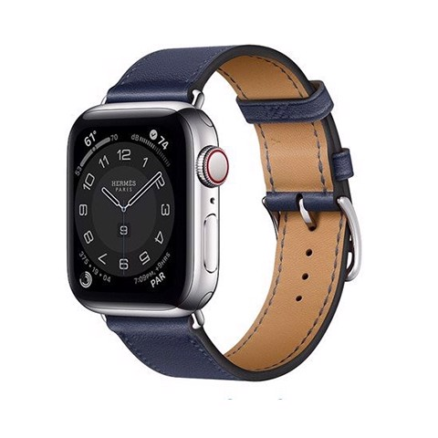 Apple Watch Series 6 44mm 4G Hermes Silver (Da Nâu/Xanh Blue)
