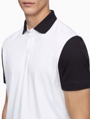 SHORT SLEEVE COLOUR BLOCKED GRAPHIC PRINT POLO