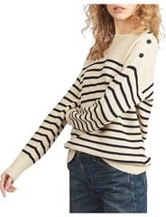 Button-Shoulder Wool Sweater