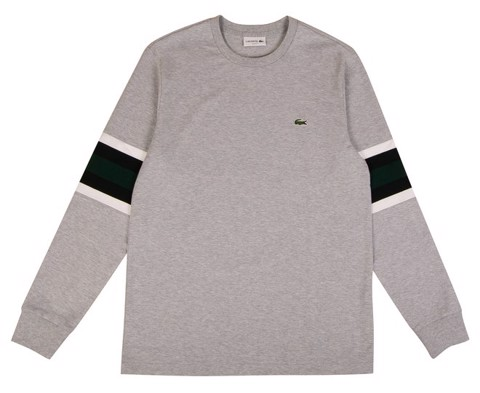 Áo Lacoste Men's Rugby Stripes Long Sleeve Heavyweight Jersey Tee / T-Shirt / Tshirt - Grey