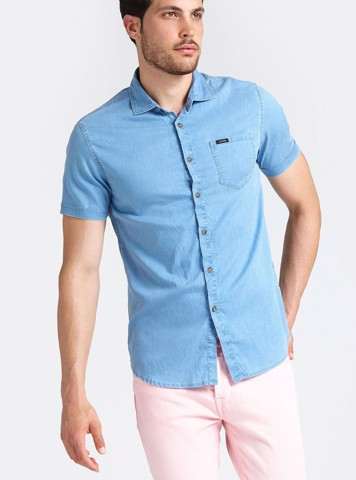 CLASSIC SHORT SLEEVE DENIM SHIRT - ÁO NAM
