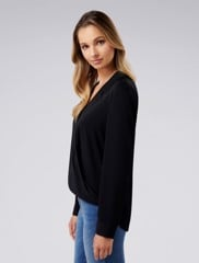 Clair Camp Collar Wrap Blouse