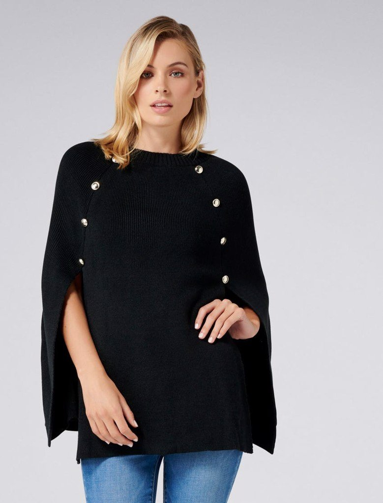 Fiona Knitted Button Poncho