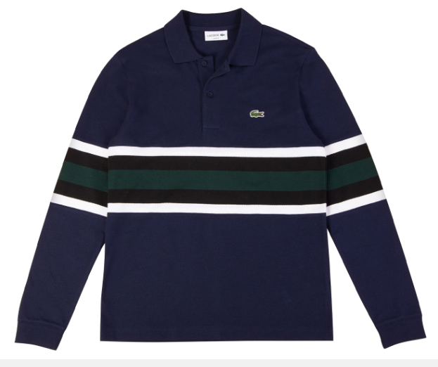Áo Lacoste Men's Rugby Stripes Long Sleeve Slim Fit Polo Shirt - Navy Blue
