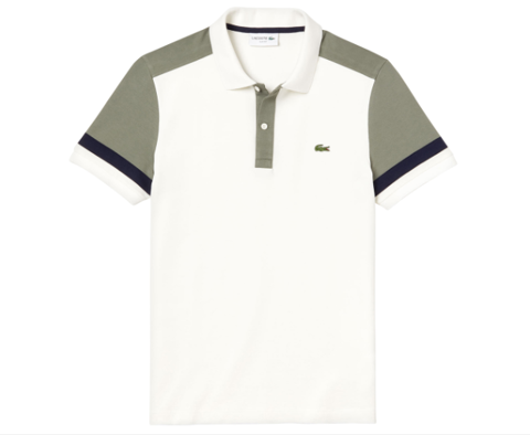 Áo Lacoste Men's Colour Block Slim Fit Pima Polo - Flour/Sergeant/Navy Blue