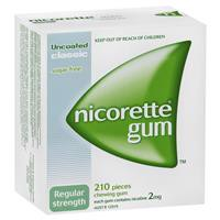Nicorette Quit Smoking Regular Strength Classic Chewing Gum 2mg 210 Pieces