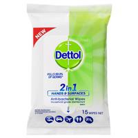 Nước rửa tay Dettol 2in1 Hands & Surfaces Antibacterial Wipes 15
