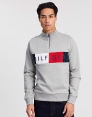 Logo Zip Mock-Neck Sweat