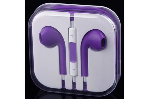 Handsfree Headphone Earphone W/ Mic For Apple Iphone 5 4 4S 3Gs Ipad Ipod Purple