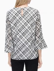 FLOCKED PLAID FLARE SLEEVE BLOUSE