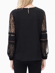 SOLID BLOUSE WITH LACE SLEEVE