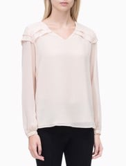 V-NECK BLOUSE WITH PLEATS