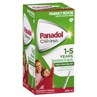 Thuốc giảm đau hạ sốt cho trẻ Panadol Children 1-5 Years Suspension Fever & Pain Relief Strawberry Flavour 200mL