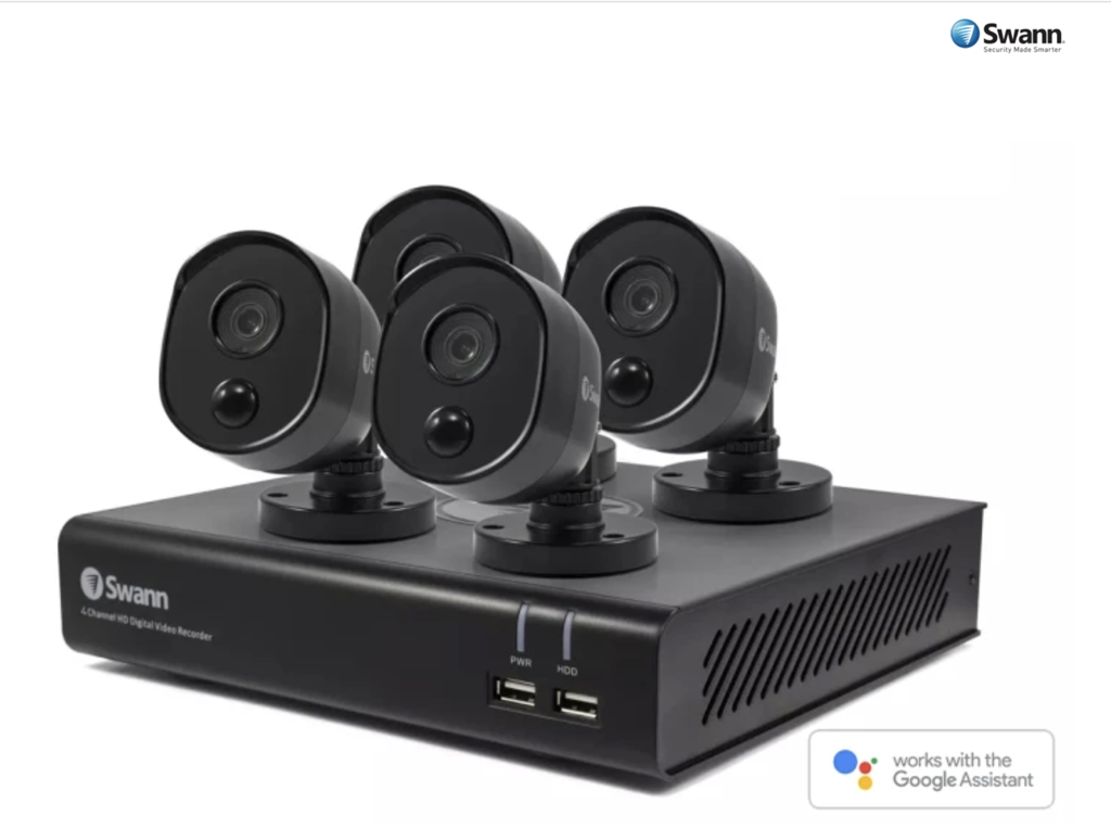 Swann 4 Channel 1080p DVR with 4 x Thermal Sensing Cameras & 32GB Micro SD Card and Google Assistant (SWDVK-444804BV-AU)