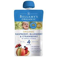 Bellamy's Organic Exotic Fruits Raspberry/Blueberry & Strawberry In Apple Puree 120g