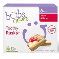 Bubs Organic Apple & Barley Lactose Free Toothy Rusk 100g