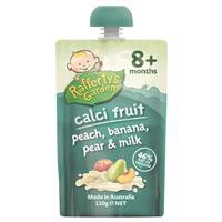 Raffertys Garden 8+ Months Calci-Fruit Peach Banana Pear and Milk 120g