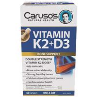 Carusos Natural Health Vitamin K2 + D3 60 Capsules